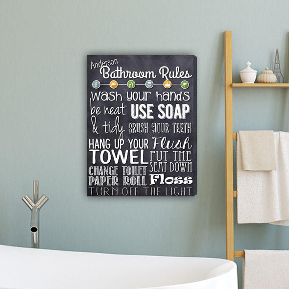 Bathroom Rules Personalized Canvas Print - Navy - JDS