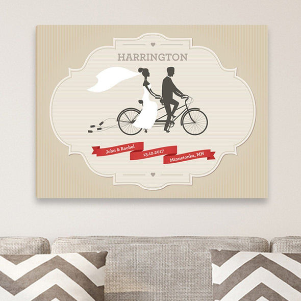 Personalized Wedding Day Canvas Print - Bicycle - JDS