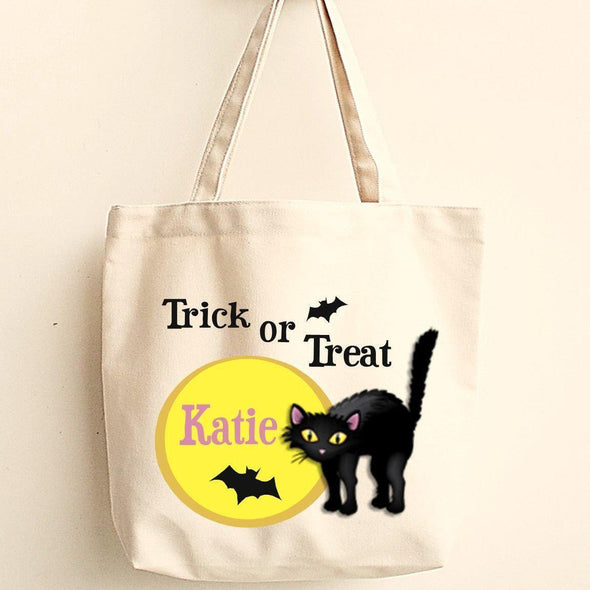 Personalized Trick or Treat Bags - Halloween Treat Bags - Gifts for Kids - BlackCat - JDS