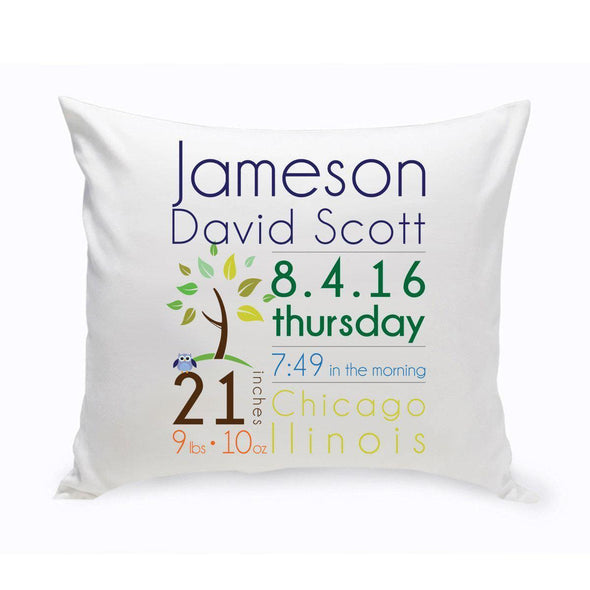Personalized Baby Boy Birth Announcement Throw Pillow -  - JDS