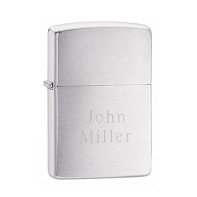 Personalized Brushed Chrome Zippo Lighter - 2Lines - Zippo