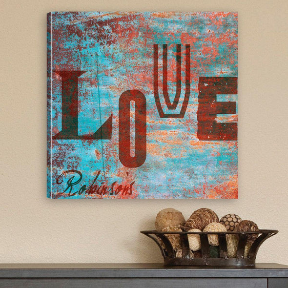 Personalized Watercolor Love Canvas Sign -  - JDS