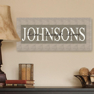 Personalized Canvas Sign - Bold Grey Live, Laugh, Love -  - JDS