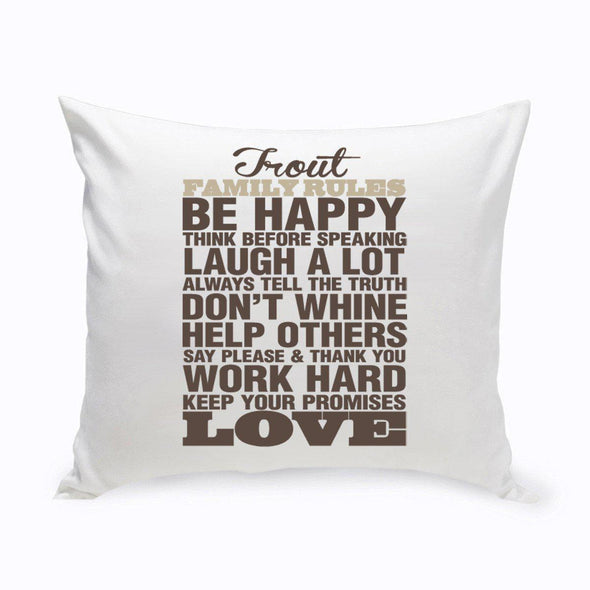 Personalized Rustic Family Rules Throw Pillow -  - JDS