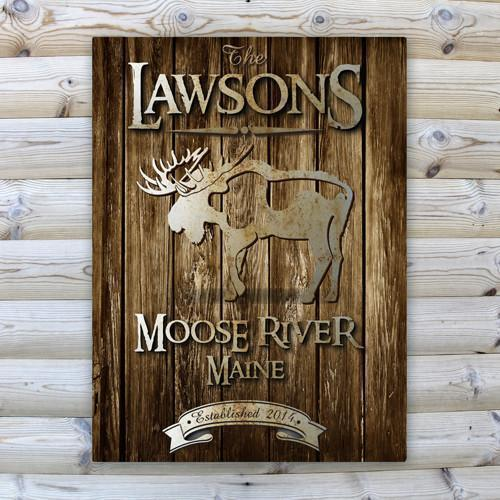 Personalized Rustic Wood Cabin Canvas Sign - Moose - JDS