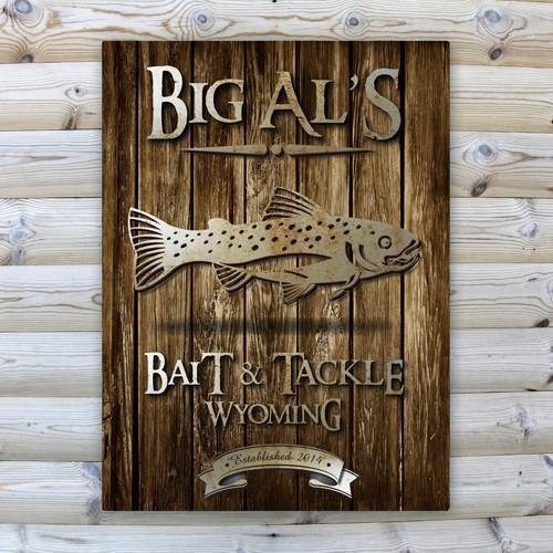 Personalized Rustic Wood Cabin Canvas Sign - Trout - JDS