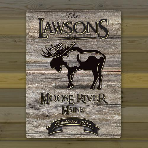 Personalized Weathered Wood Welcome to the Lake Canvas Sign - Moose - JDS