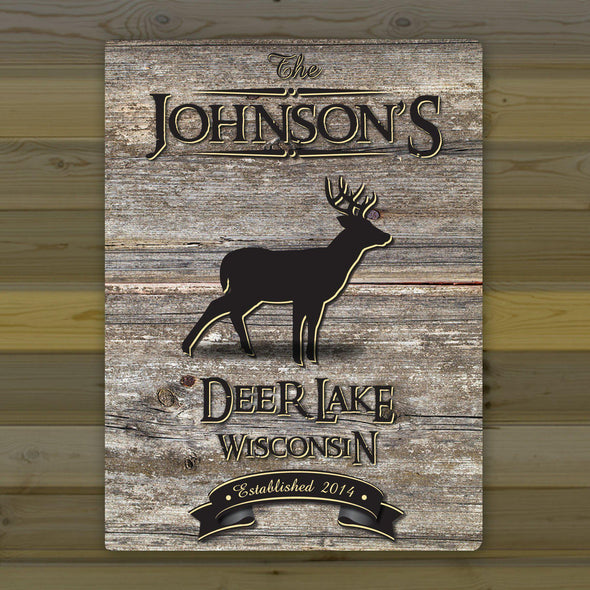 Personalized Weathered Wood Welcome to the Lake Canvas Sign - Stag - JDS