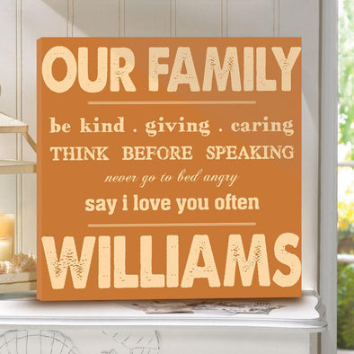 Personalized Rules of Our Family Canvas Sign -  - JDS