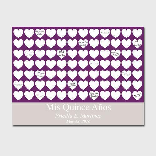 Personalized Quinceanera Guestbook Canvas -Plum Hearts -  - JDS