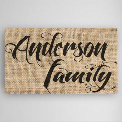 Personalized Family Name Canvas Sign -  - JDS