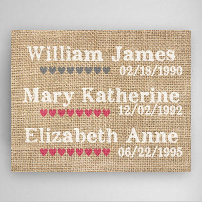 Personalized Our Kids Canvas Sign -  - JDS