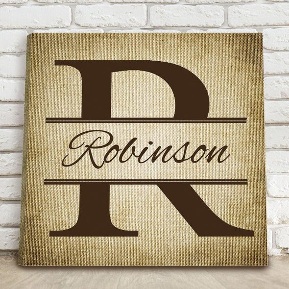 Personalized Stamped Design Canvas Print Sign - Burlap - JDS