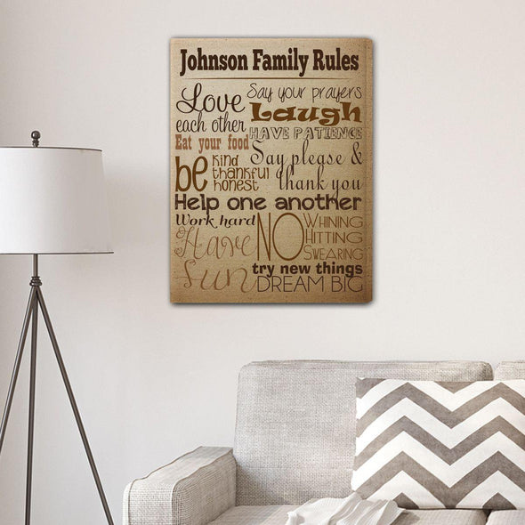 Rules of the House Personalized Canvas Print - Burlap - JDS