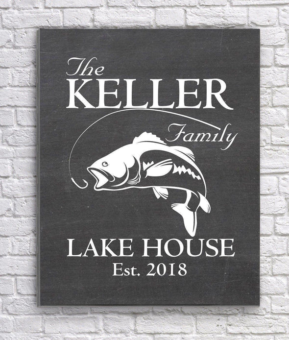 Personalized Lake House Canvas Sign - Chalkboard - JDS