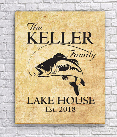 Personalized Lake House Canvas Sign - Parchment - JDS