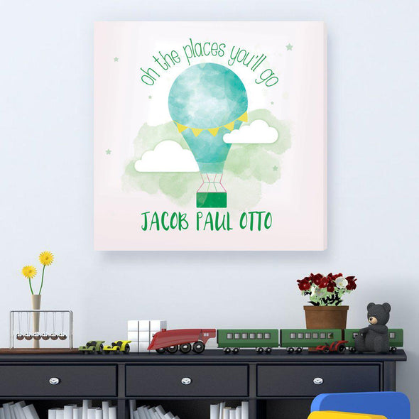 The Places You'll Go Personalized Kids Sign – Hot Air Balloon - Green - JDS