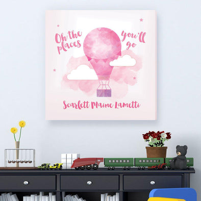 The Places You'll Go Personalized Kids Sign – Hot Air Balloon - Pink - JDS