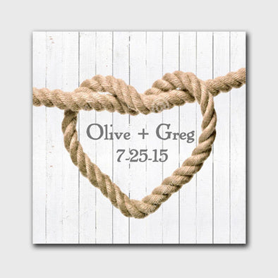 Personalized Knot Canvas Print - White - JDS