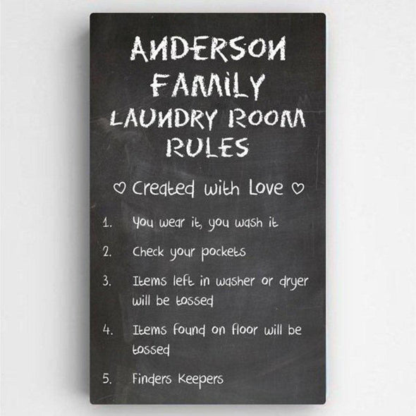 Personalized Laundry Room Rules Canvas Sign -  - JDS