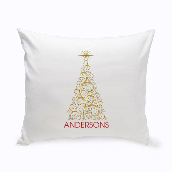 Personalized Holiday Throw Pillows - Gold Christmas Tree -  - JDS