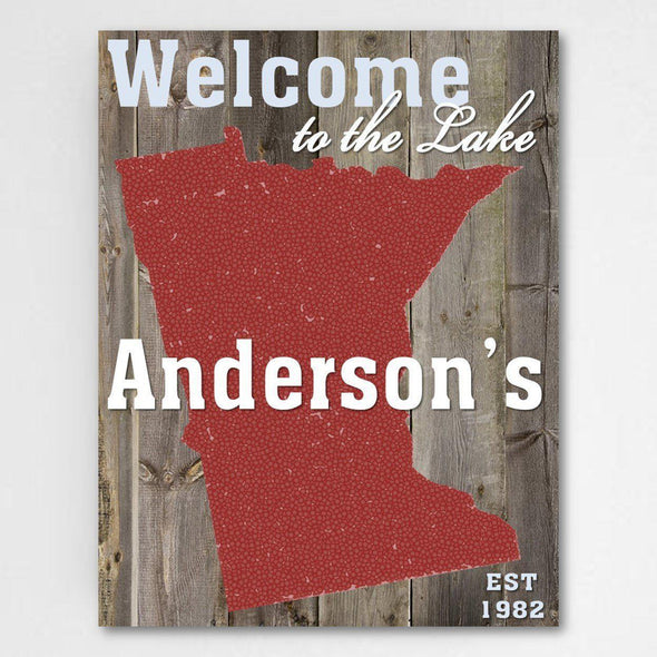 Personalized Lake House Signs Home State Canvas Print- Cabin Series -  - JDS