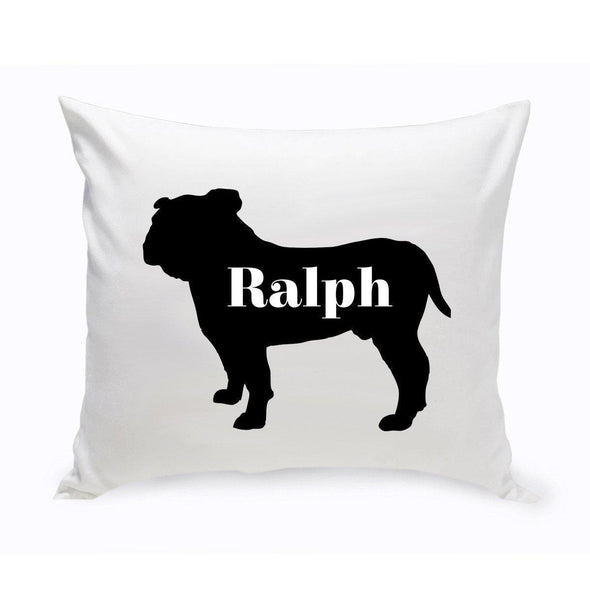 Personalized Dog Throw Pillow - Dog Silhouette - EnglishBulldog - JDS