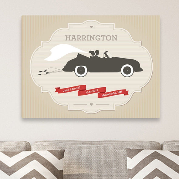 Personalized Wedding Day Canvas Print - Car - JDS