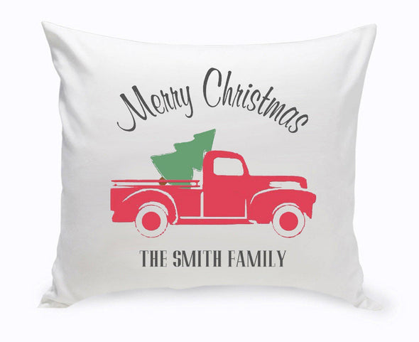 Personalized Red Christmas Truck Throw Pillow -  - JDS