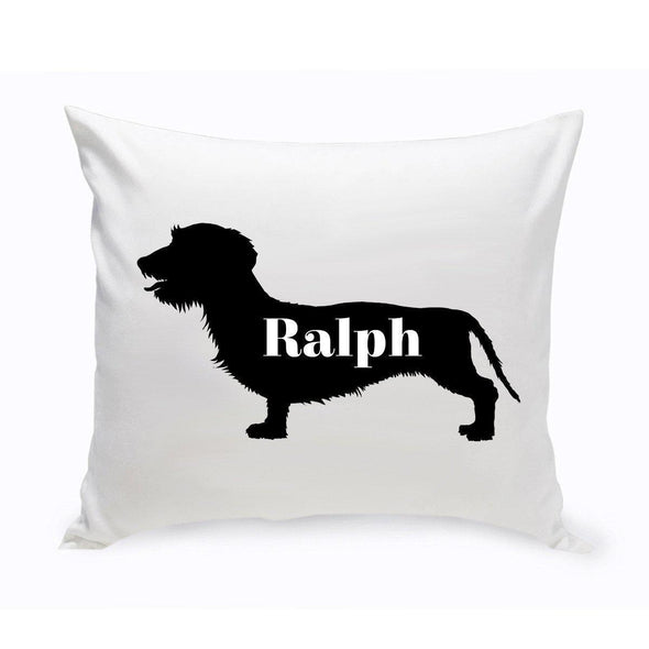 Personalized Dog Throw Pillow - Dog Silhouette - WireHairedDachsund - JDS