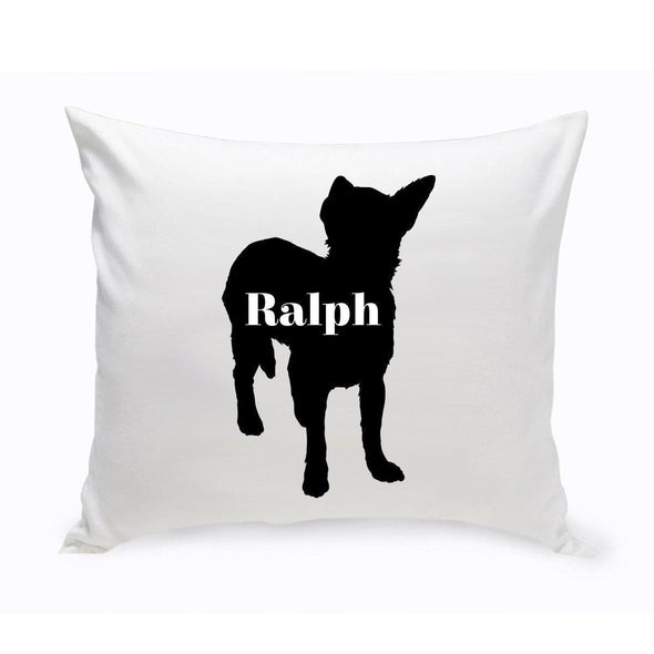 Personalized Dog Throw Pillow - Dog Silhouette - ShorthairChihuahua - JDS
