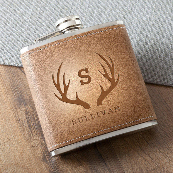 Personalized 6 oz. Leather Hide Flask - Antlers - JDS