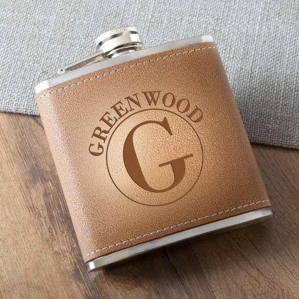 Personalized 6 oz. Leather Hide Flask - Circle - JDS