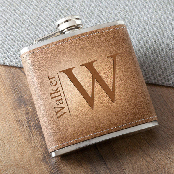 Personalized 6 oz. Leather Hide Flask - Modern - JDS