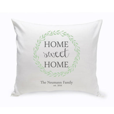 Personalized Home Sweet Home Throw Pillow - Green Wreath -  - JDS