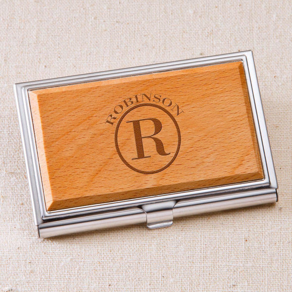 Monogrammed Wood Business Card Case - Circle - JDS