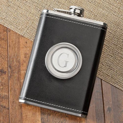 Personalized Folding Flask & Shot Glass - Leather - 8 oz. -  - JDS