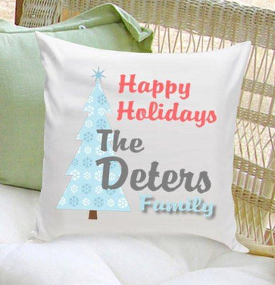 Personalized Happy Holiday Throw Pillows -  - JDS