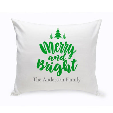 Personalized Merry & Bright Throw Pillow -  - JDS