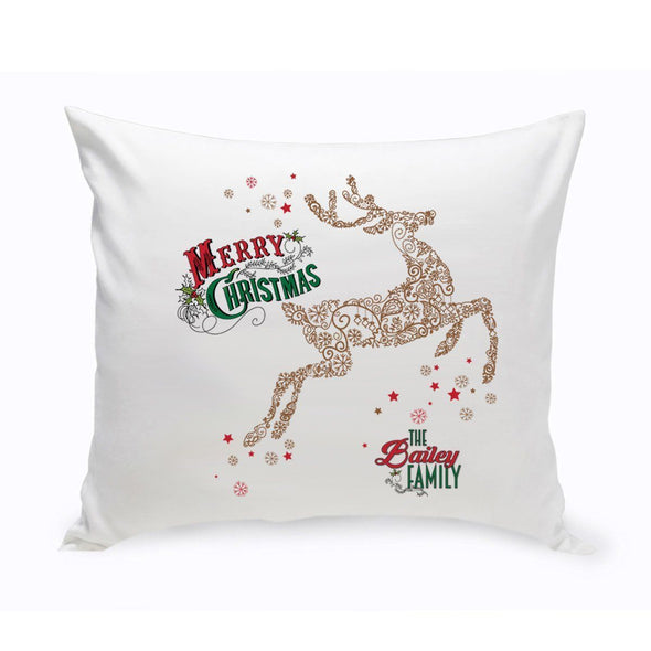 Personalized Vintage Deer Holiday Throw Pillow -  - JDS