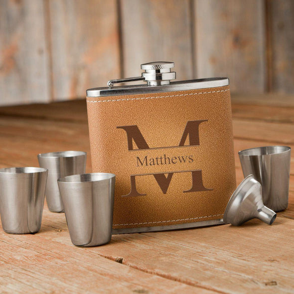 Personalized Durango Monogrammed Hide Stitch Flask & Shot Glass Gift Box Set - Stamped - JDS