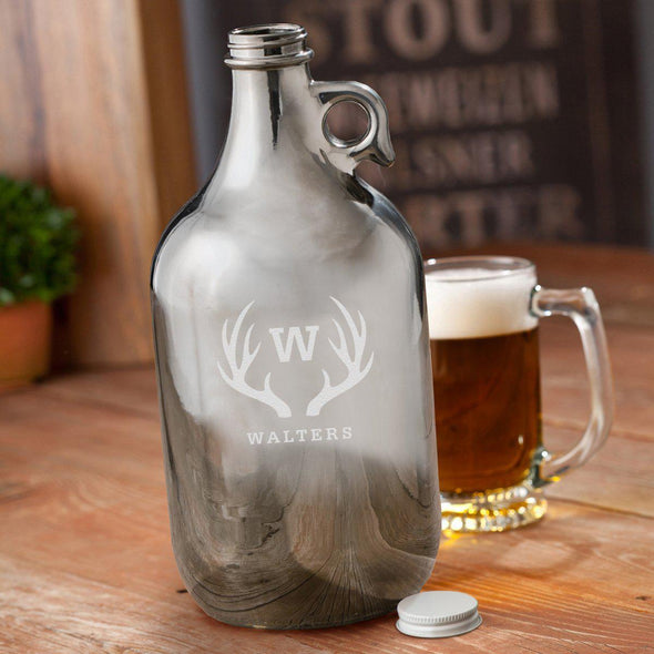 Personalized Gunmetal Beer Growler 64 oz - Antlers - JDS