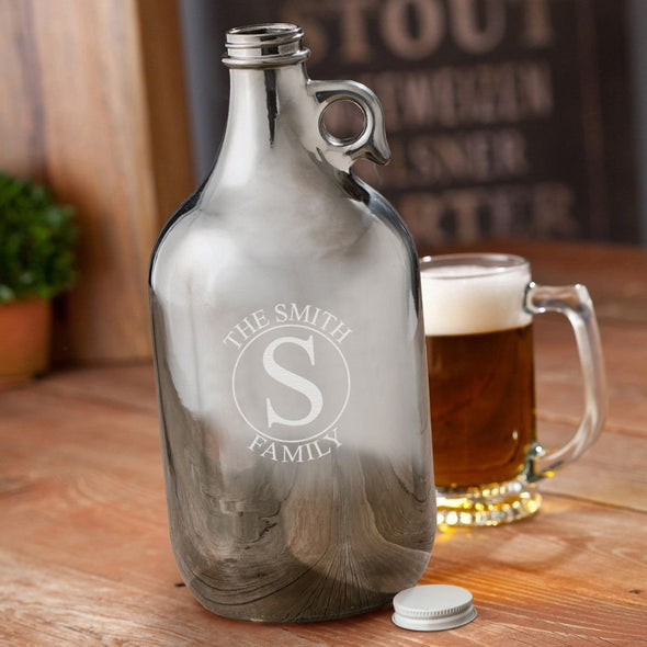 Personalized Gunmetal Beer Growler 64 oz - circle - JDS