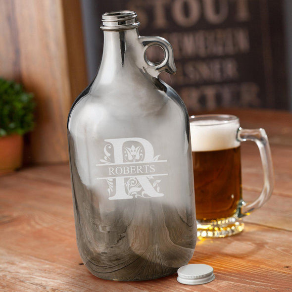 Personalized Gunmetal Beer Growler 64 oz - Filigree - JDS