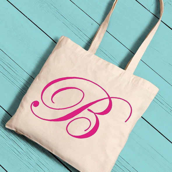 Personalized Canvas Initial Tote - Pink - JDS