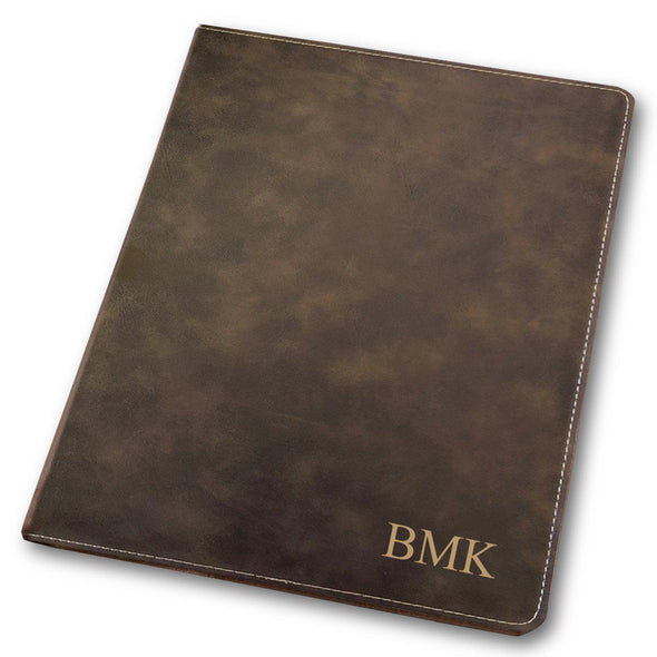 Personalized Portfolio - Vegan Leather - with Notepad - Executive Gift - Rustic - JDS