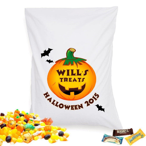Personalized Halloween Treat Pillowcase - Pumpkin - JDS