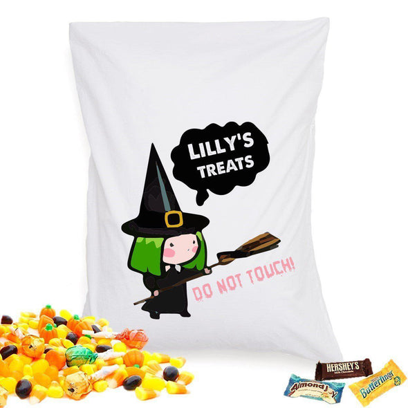 Personalized Halloween Treat Pillowcase - WitchBroom - JDS