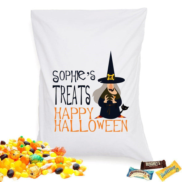 Personalized Halloween Treat Pillowcase - WitchCat - JDS