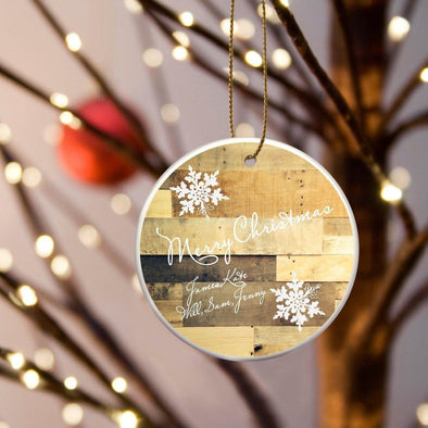 Personalized Multiwood Christmas Ceramic Ornament - MultiWood - JDS